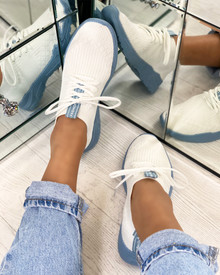 Chase The Sun Slip On Sock Trainers In White Blue