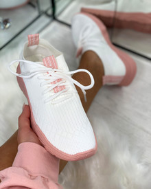 Chase The Sun Slip On Sock Trainers In White Baby Pink