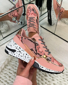 Collins Chunky Lace Up Trainers In Pink