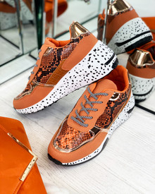 Collins Chunky Lace Up Trainers In Orange