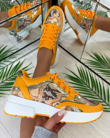 Sarai Lace Up Trainers in Yellow