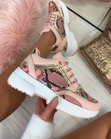 Sarai Lace Up Trainers in Pink