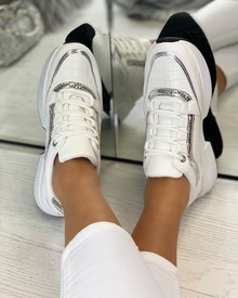 Anabelle Lace Up Trainers in White