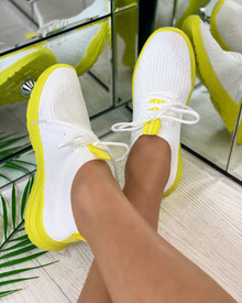 Chase The Sun Slip On Sock Trainers in White Yellow