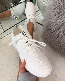 Chase The Sun Slip On Sock Trainers in White