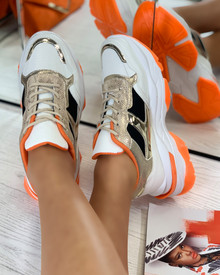 New Rules Chunky Lace Up Trainers in Gold Orange