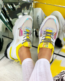 Adair Chunky Lace Up Trainers in Yellow