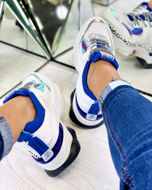 Adair Chunky Lace Up Trainers in Blue