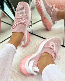 Aitana Knitted Trainers in Pink