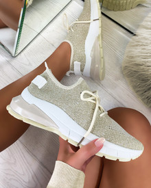 Aitana Knitted Trainers in Beige