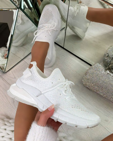 Aitana Knitted Trainers in White