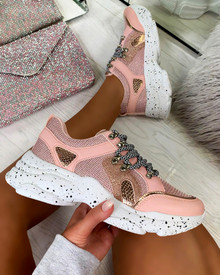 Kayden Chunky Lace Up Trainers In Pink