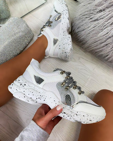 Kayden Chunky Lace Up Trainers In White