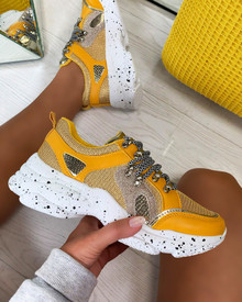 Kayden Chunky Lace Up Trainers In Yellow