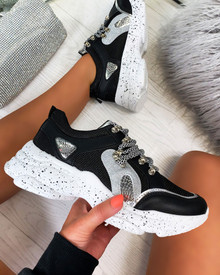Kayden Chunky Lace Up Trainers In Black