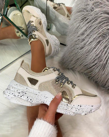 Kayden Chunky Lace Up Trainers In Beige