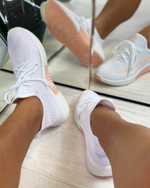 Tiana Knitted Trainers in White/Peach