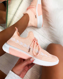 Tiana Knitted Trainers in Peach