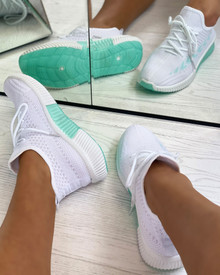 Tiana Knitted Trainers in White/Mint