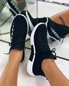 Tiana Knitted Trainers in Black
