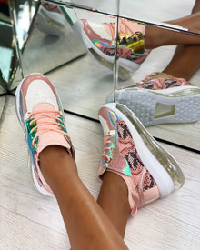 Kiley Chunky Transparent Sole Trainers in Pink