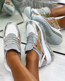 Kiley Chunky Transparent Sole Trainers in Grey