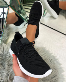 Nadine Knitted Sock Trainers in Black