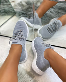 Nadine Knitted Sock Trainers in Grey