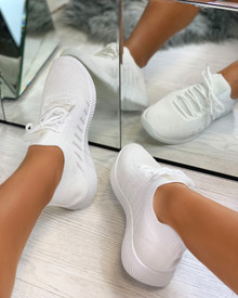Nadine Knitted Sock Trainers in White