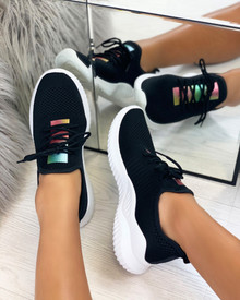 Raven Knitted Sock Trainers in Black