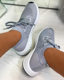 Taliyah Knitted Sock Trainers in Grey