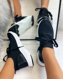 Taliyah Knitted Sock Trainers in Black