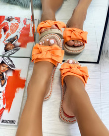 Livia Bow Espadrille Slider in Bright Orange