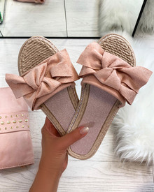 Livia Bow Espadrille Slider in Pink