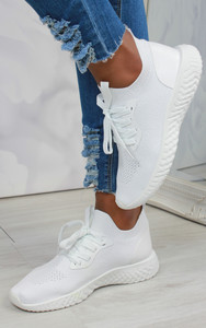 Taliyah Knitted Sock Trainers in White