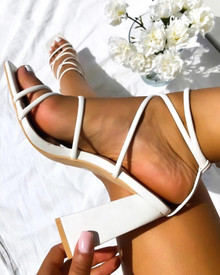 Lauren Strappy Sandals in White