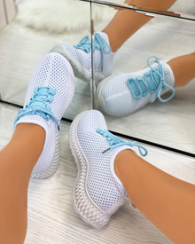 Sarahi Overlay Knit Trainers In Blue