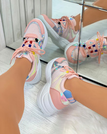 Keira Chunky Lace Up Trainers in Pink