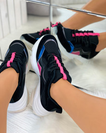 Cassie Chunky Lace Up Trainers in Black