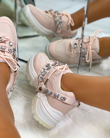 Letha Jewel Strap Chunky Trainers in Pink
