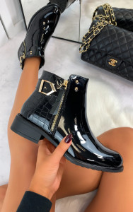 Larsa Buckle Ankle Boots in Croc Patent Black