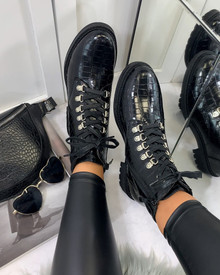 Damaris Hiker Style Boots in Black Patent Croc