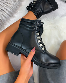 Damaris Hiker Style Boots in Black