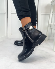 Evathia Ankle Boots in Black Patent Croc