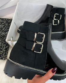 Carnal Double Buckle Ankle Boots in Black