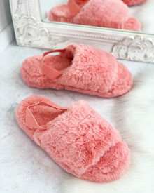 Davy Fluffy Strap Back Slippers in Pink