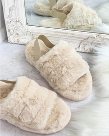 Davy Fluffy Strap Back Slippers in Beige