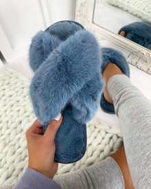 So Fluffy Crossover Mule Sleepers in Blue