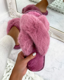 So Fluffy Crossover Mule Sleepers in French Rose