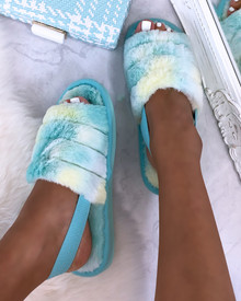 Bliss Cloud Pastel Tie Dye Fluffy Slippers in Mint Sky